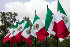 Mexican flags flying at Chapultepec Park, Mexico City
